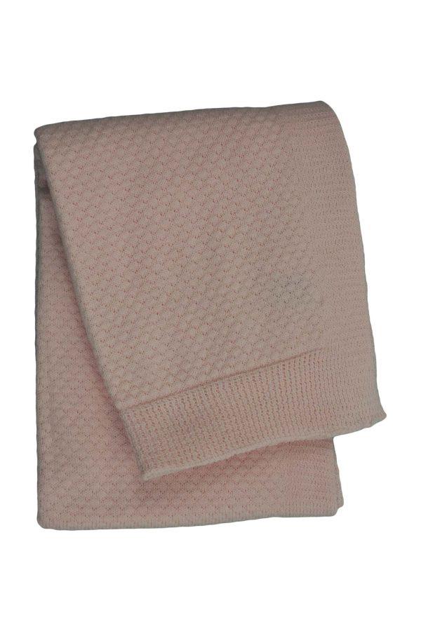 gebreid katoenen dekentje liz baby roze medium
