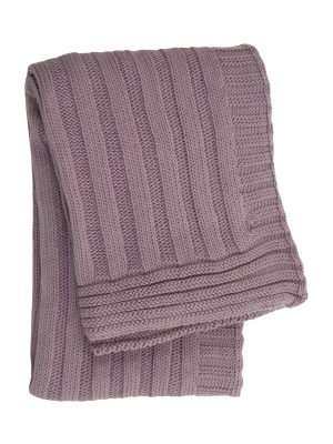 gebreid katoenen dekentje ribs violet medium