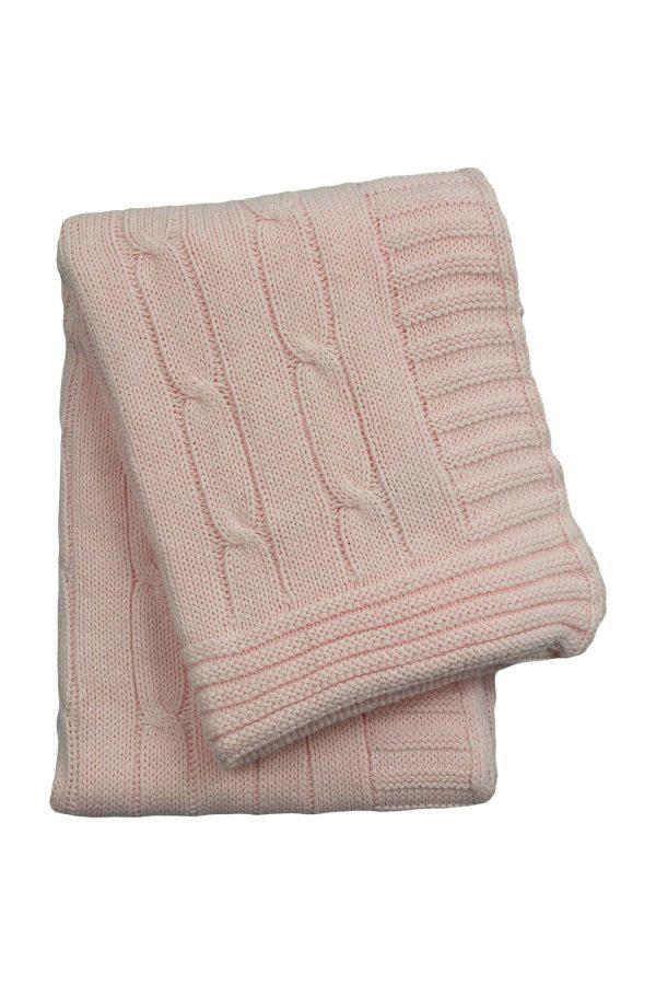 gebreid katoenen dekentje twist baby roze medium