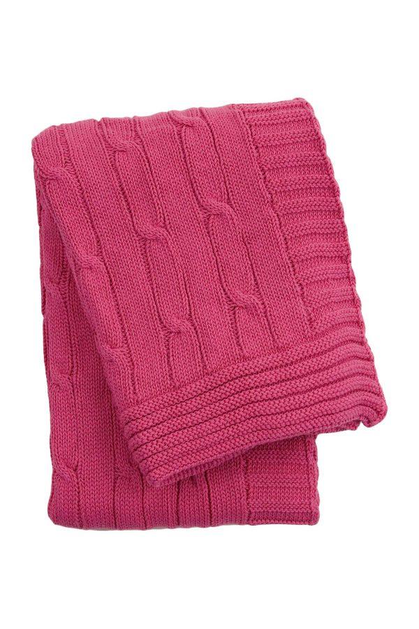 gebreid katoenen dekentje twist roze medium