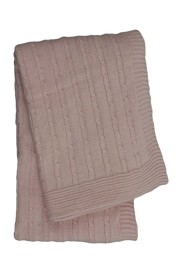 gebreid katoenen dekentje twist small baby roze medium