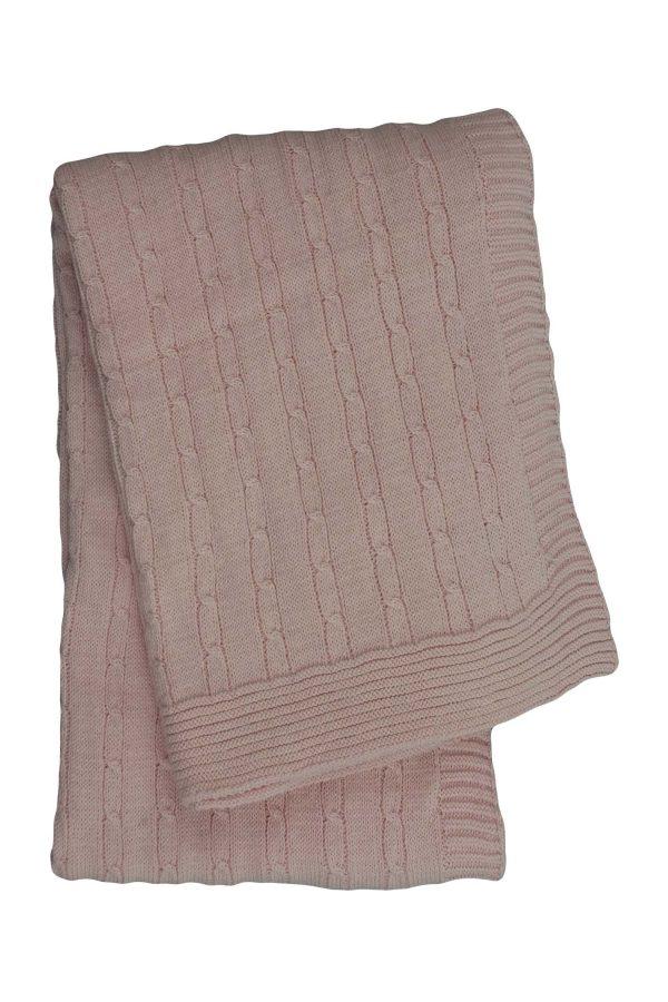 gebreid katoenen dekentje twist small baby roze small