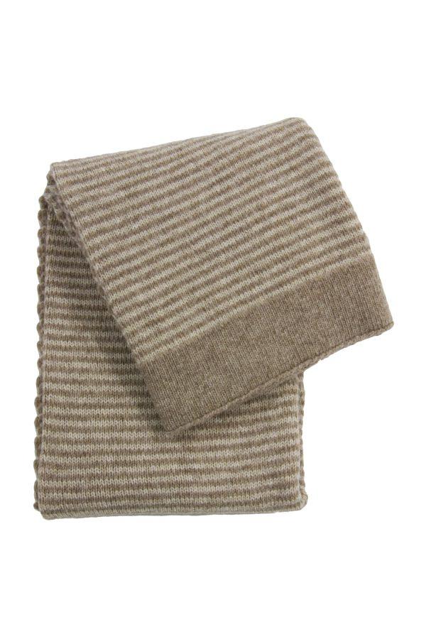 gebreid wollen dekentje stripy linnen small