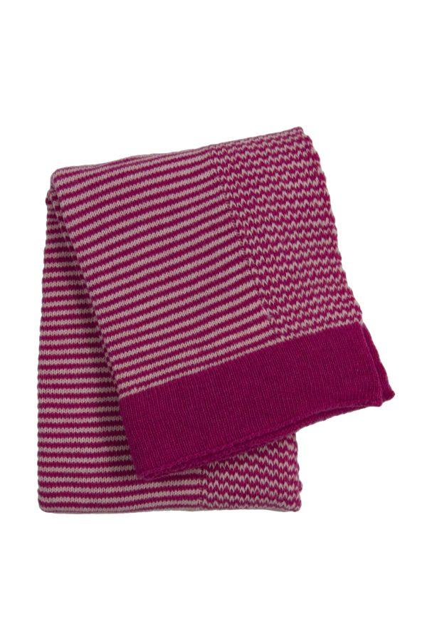 gebreid wollen dekentje stripy roze small