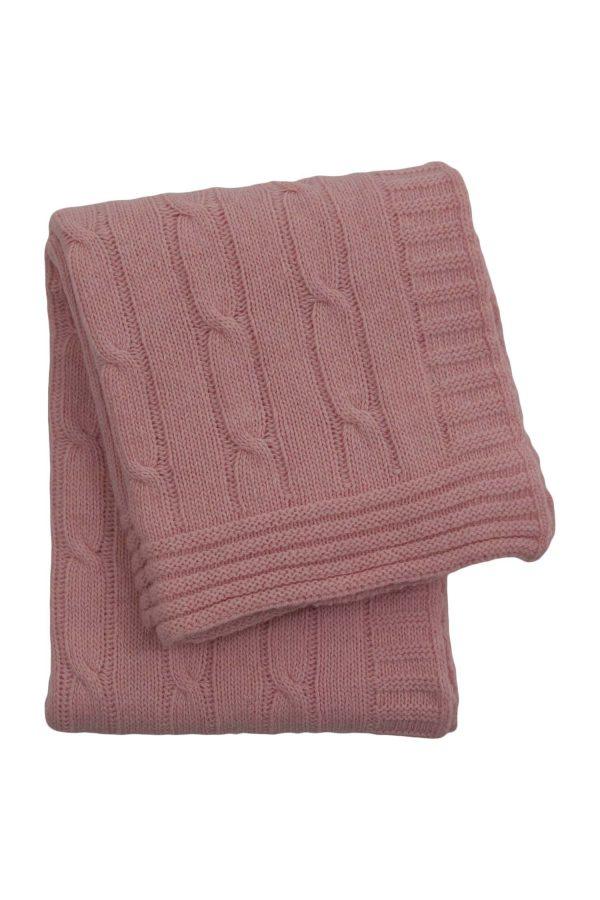 gebreid wollen dekentje twist baby roze medium