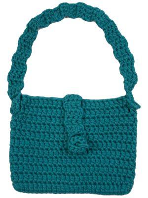 gehaakte katoenen tas granny zee blauw