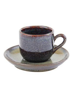 glaze ceramic aardewerk espresso kop en schotel oker