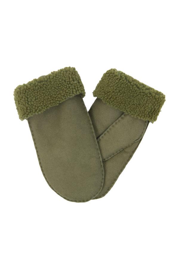 nappa wanten van schapenbont (vrouwen) urban olijf groen large