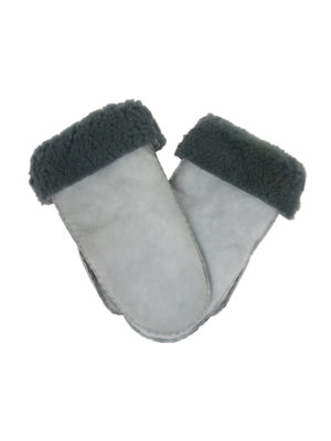suede wanten van schapenbont (vrouwen) basic grijs large