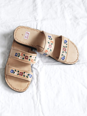leren slipper dos tiras ecru small