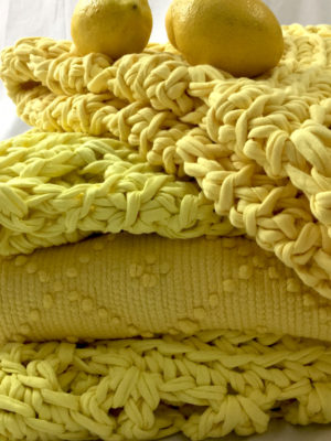 arab yellow crochet cotton rug