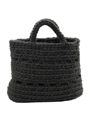 basic anthracite crochet woolen basket small