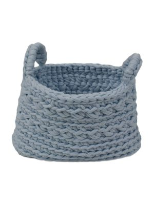 basic baby blue crochet cotton basket xsmall