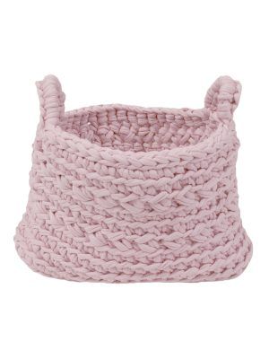basic baby pink crochet cotton basket xsmall