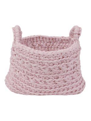 basic baby pink crochet cotton basket xsmall