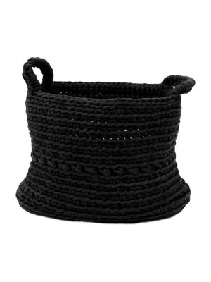 basic black crochet cotton basket medium