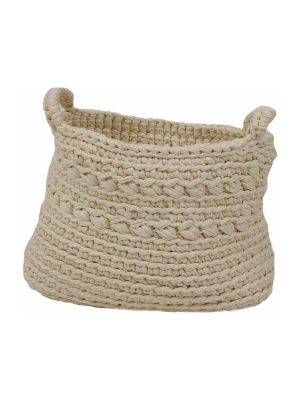 basic ecru crochet cotton basket medium