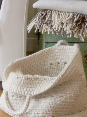 basic ecru crochet woolen basket