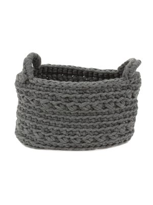 basic grey crochet cotton basket xsmall