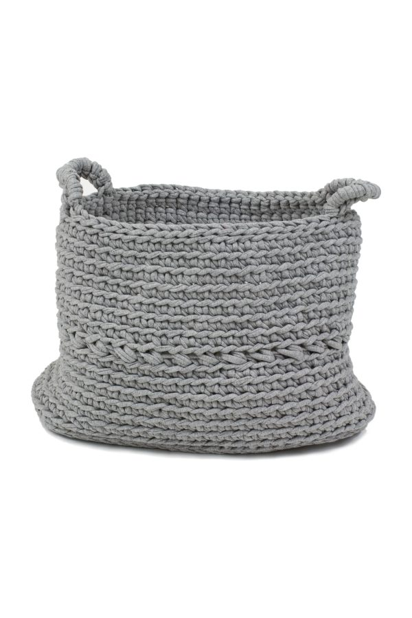 basic light grey crochet cotton basket medium