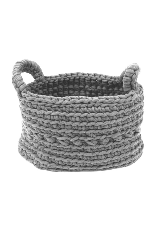 basic light grey crochet cotton basket xsmall