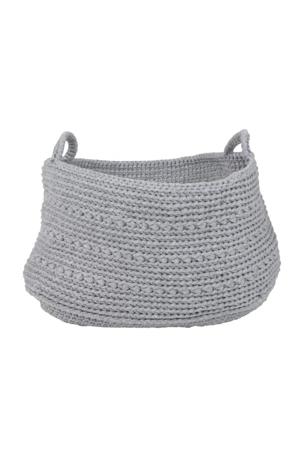 basic light grey crochet cotton basket xxlarge