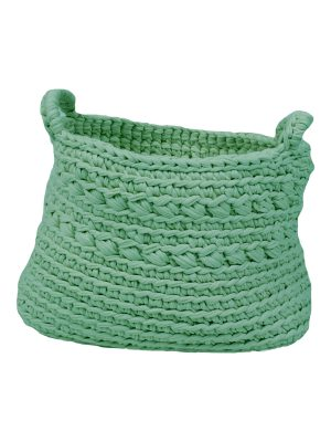 basic mint crochet cotton basket medium