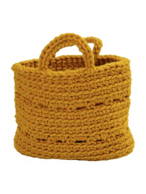 basic ochre crochet woolen basket small