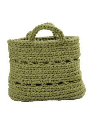 basic olive green crochet woolen basket small