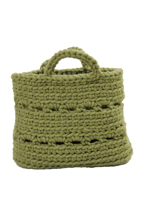 basic olive green crochet woolen basket small