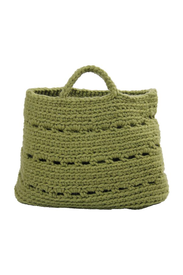basic olive green crochet woolen basket xlarge