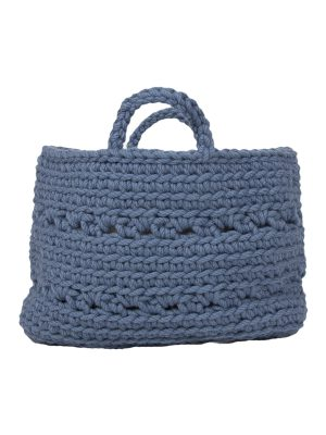 basic petrol crochet woolen basket small