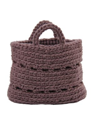 basic violet crochet woolen basket small