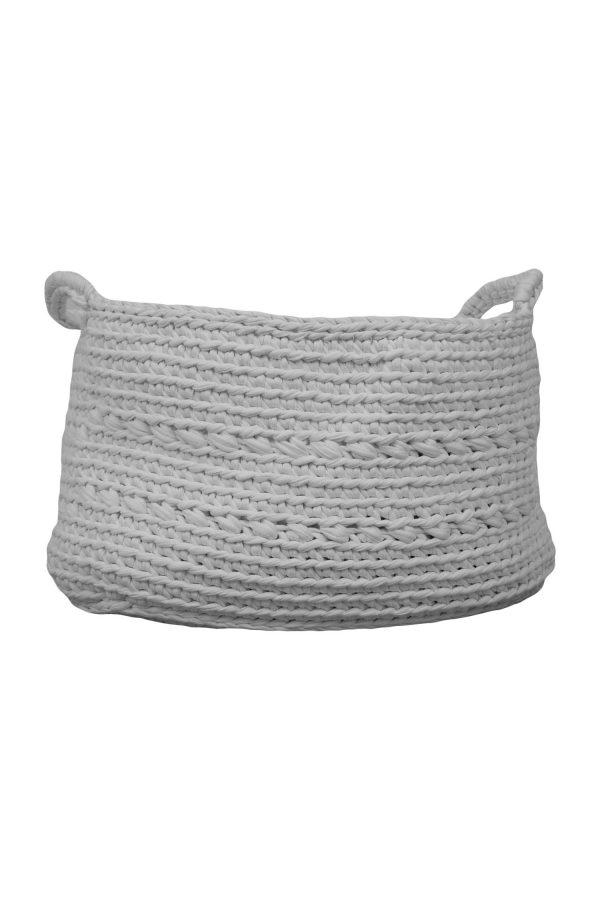 basic white crochet cotton basket large