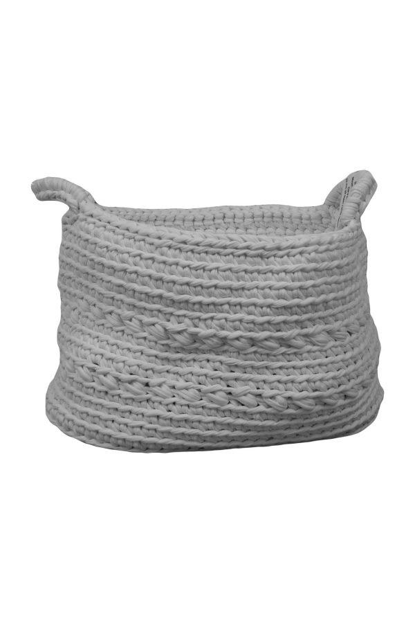 basic white crochet cotton basket medium