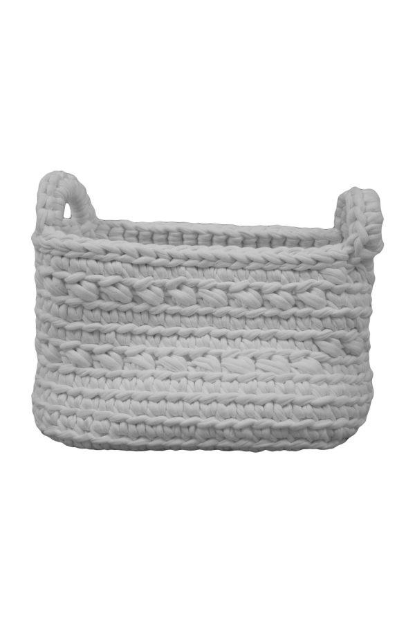 basic white crochet cotton basket xsmall