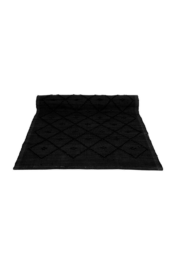 diamond black woven cotton rug medium