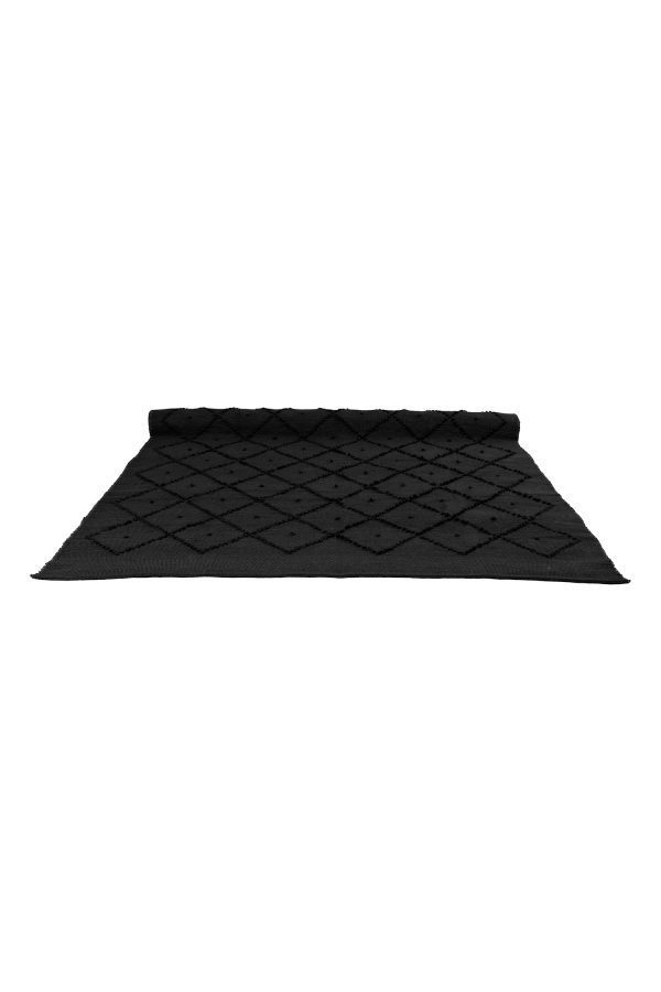 diamond black woven cotton rug xlarge
