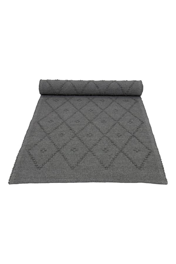 diamond granite grey woven cotton rug medium