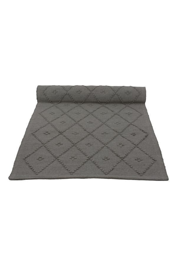 diamond grey woven cotton rug medium