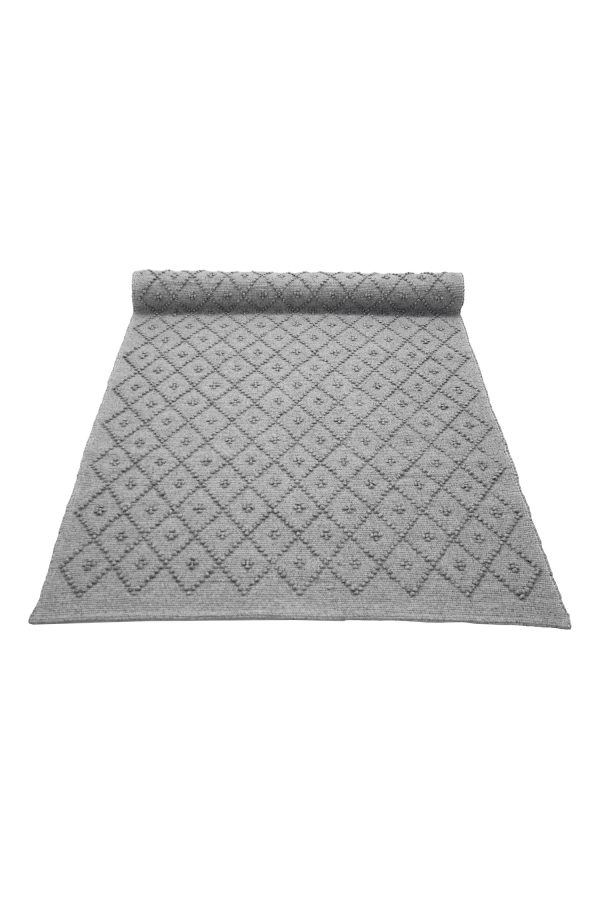 diamond light grey woven cotton rug large