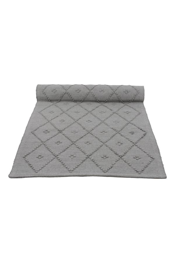 diamond light grey woven cotton rug medium