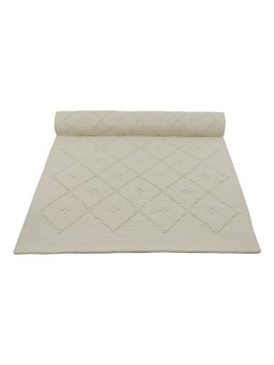 diamond off-white woven cotton rug medium