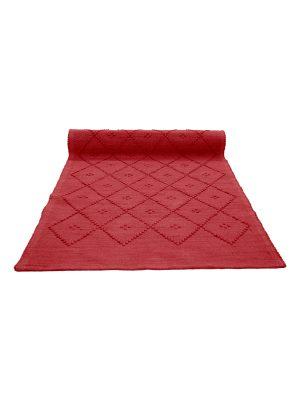 diamond red woven cotton rug medium