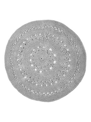 flor light grey crochet cotton rug large