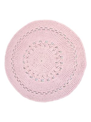 flor pink crochet cotton rug large