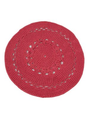 flor red coral crochet cotton rug large