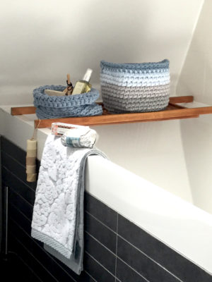 groovy blue crochet cotton basket