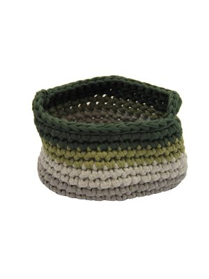 groovy olive green crochet cotton basket xsmall