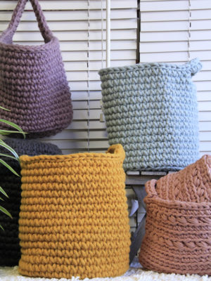 nordic ochre yellow crochet woolen basket
